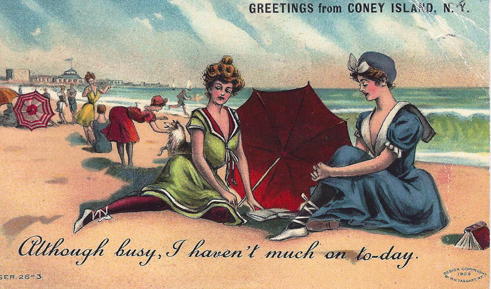Postcard A Coney Island Reader